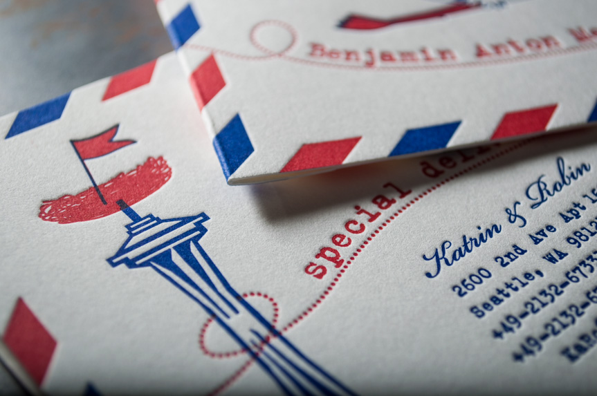 Custom baby announcements seattle spaceneedle design drawing letterpress printers (1 of 3)