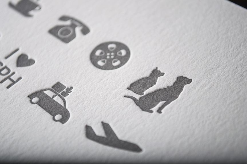custom letterpress wedding invitation