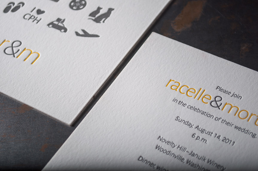Custom wedding icons design announcments seattle letterpress printers (1 of 2)