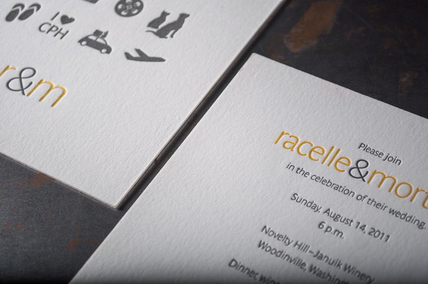 Custom wedding icons design announcments seattle letterpress printers (1 of 2)