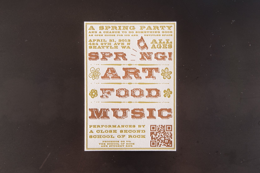 spring letterpress invitation