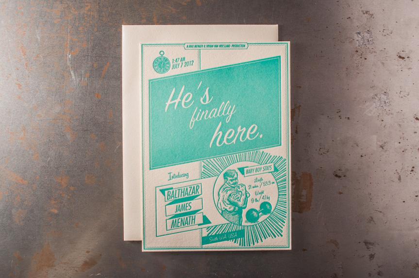 baby announcment design printing letterpress seattle designers