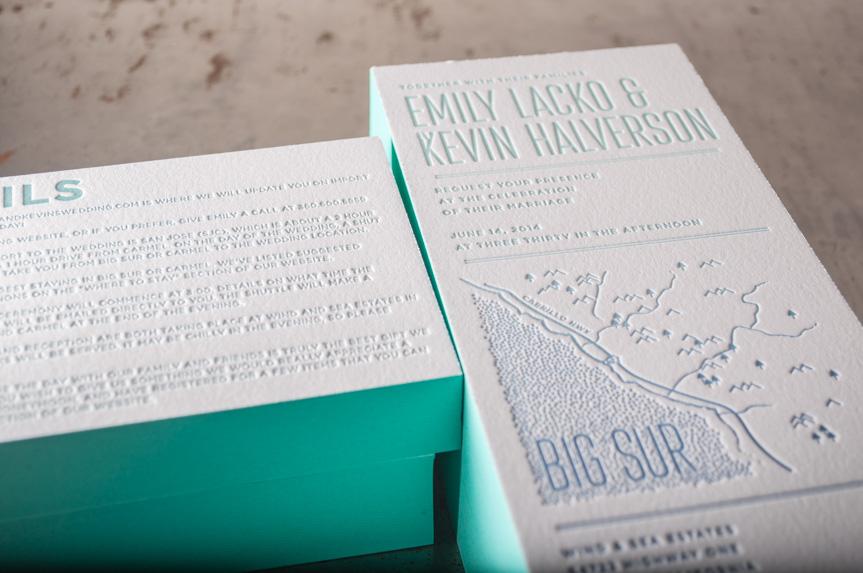 big sur edge painted wedding invitation design