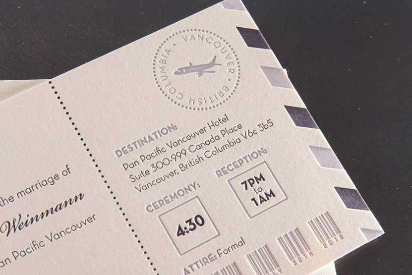 british columbia design printing letterpress boarding pass designers wedding invtiations