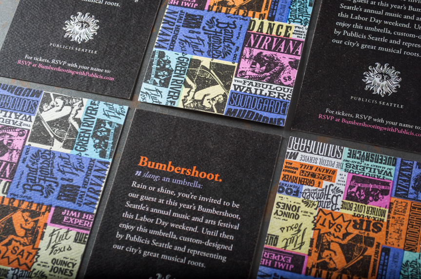 bumpershoot tickets music band collage record seattle bands letterpress printed