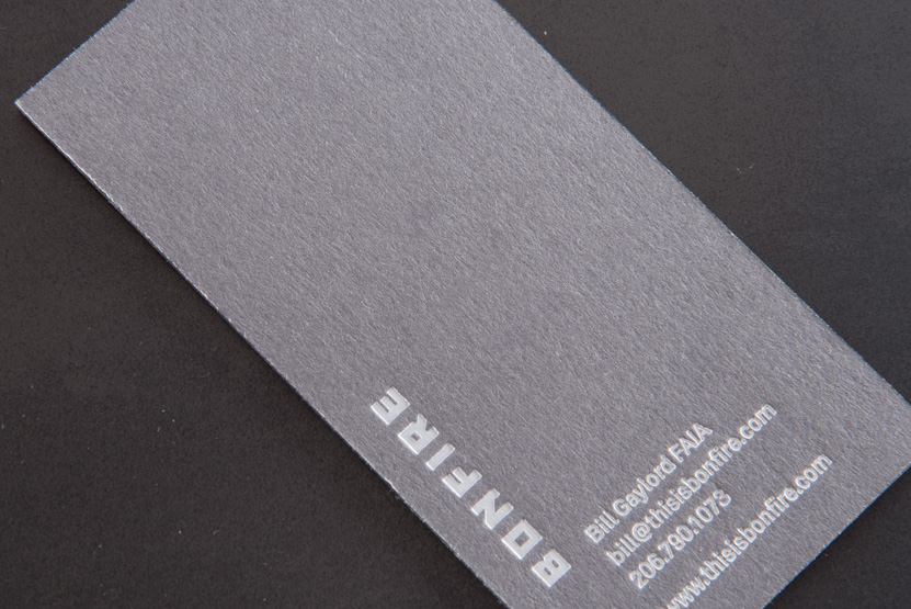 business card printing seattle letterpress grey paper white foil print