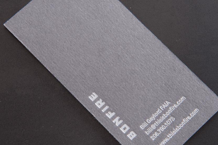 business card printing seattle letterpress grey paper white foil print