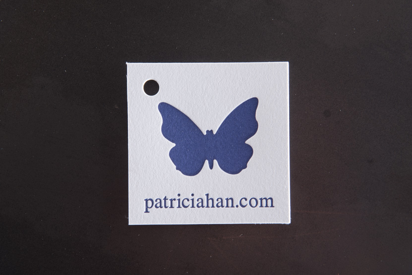 butterfly logo letterpress printed seattle tag handbags print press