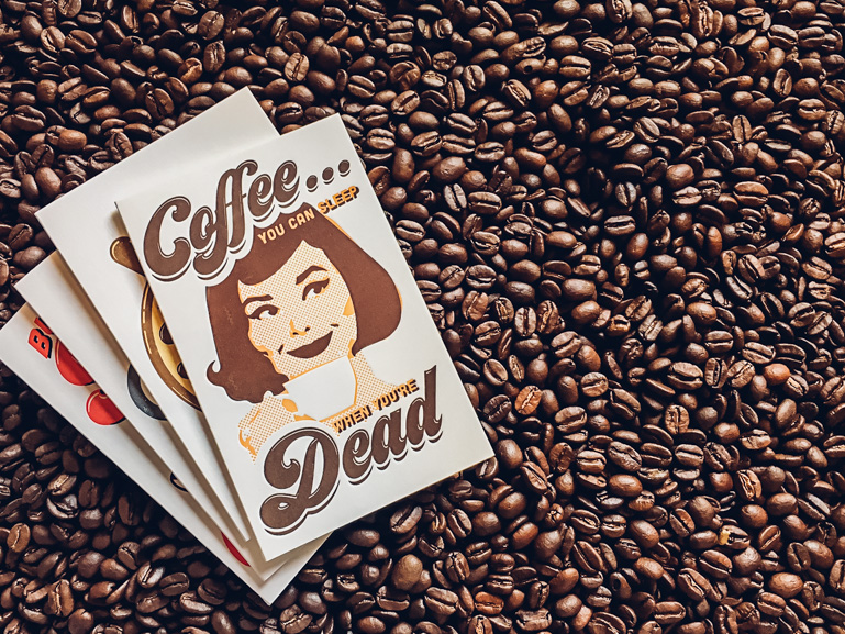 coffee letterpress greeting card
