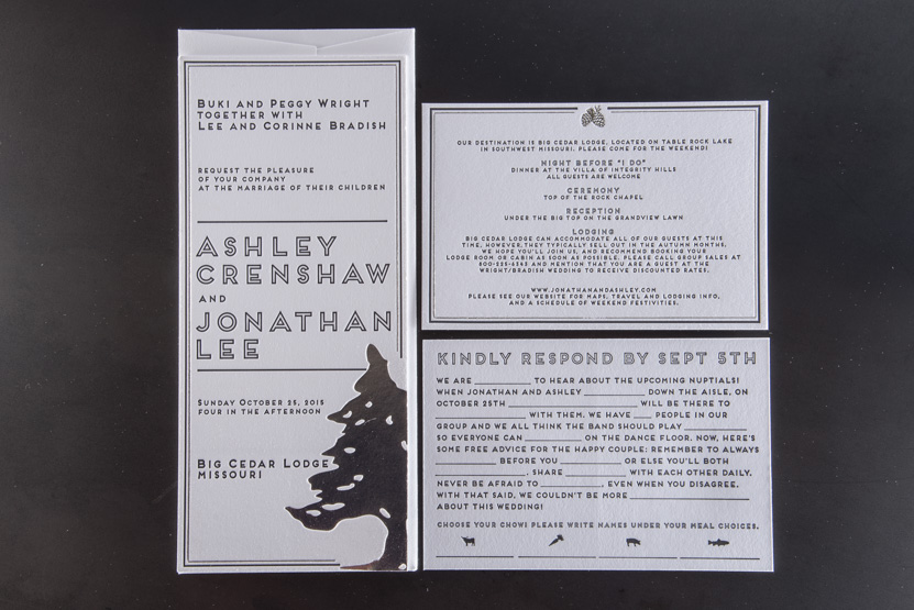 cusom foil wedding invitation designers printing seattle tree design