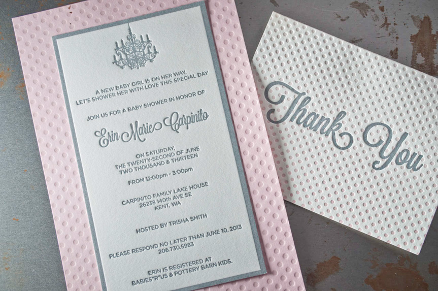 pink letterpress baby announcement