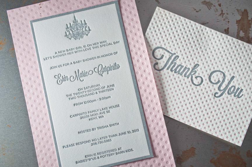 pink letterpress baby announcement