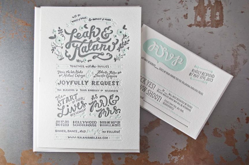 blue letterpress wedding invitation