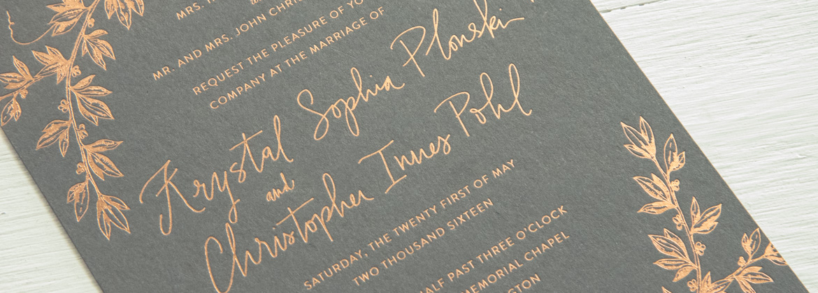 Foil Letterpress Wedding Invitation