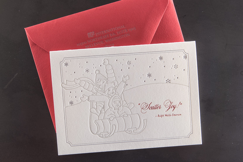 custom holiday letterpress greeting card