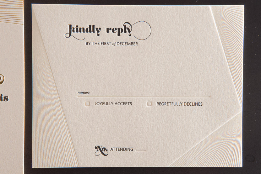 debossed pressed invitations lines custom letterpress