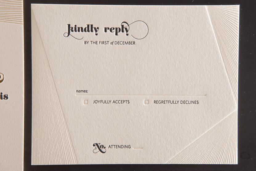 debossed pressed invitations lines custom letterpress