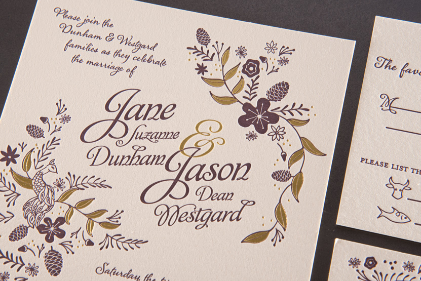 florwal wedding invitations design seattle designer foil letterpress printing peacock drawing
