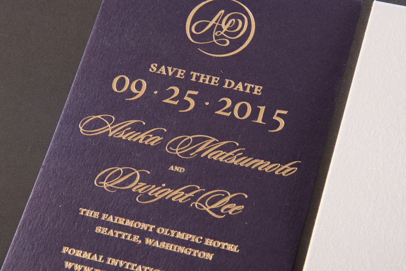 gold foil purple paper save the date printing seattle invitations
