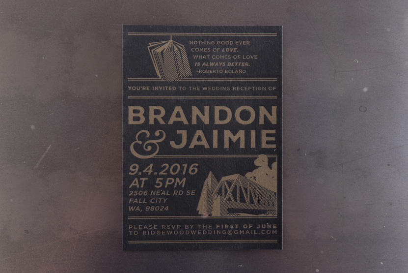 gold on black invitations design designer printing seattle custom invitation fall city