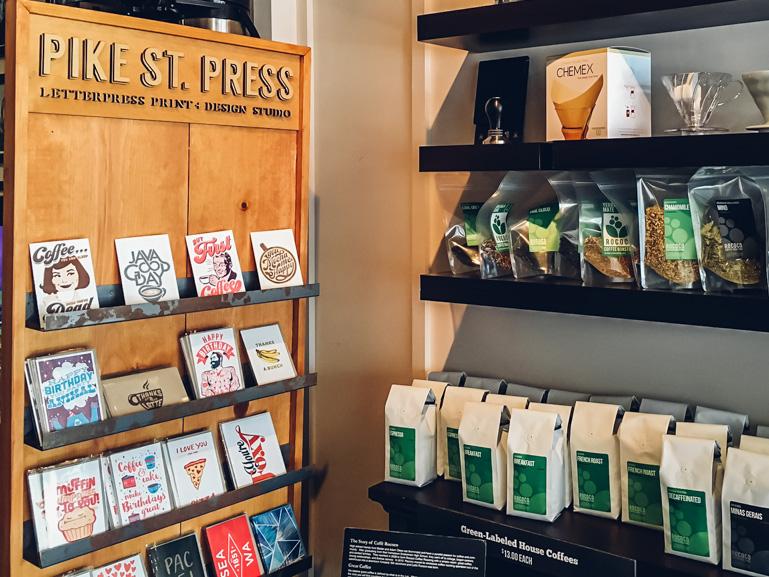 greeting card display laser cut sign seattle coffee cards coffee shop kirkland