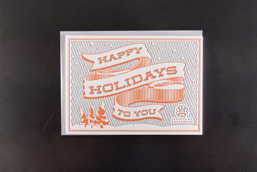 happy holidays greeting cards custom business letterpress printing press seattle kirkland