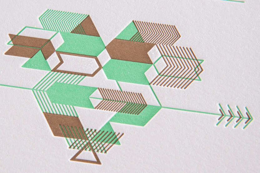 green letterpress wedding invitation