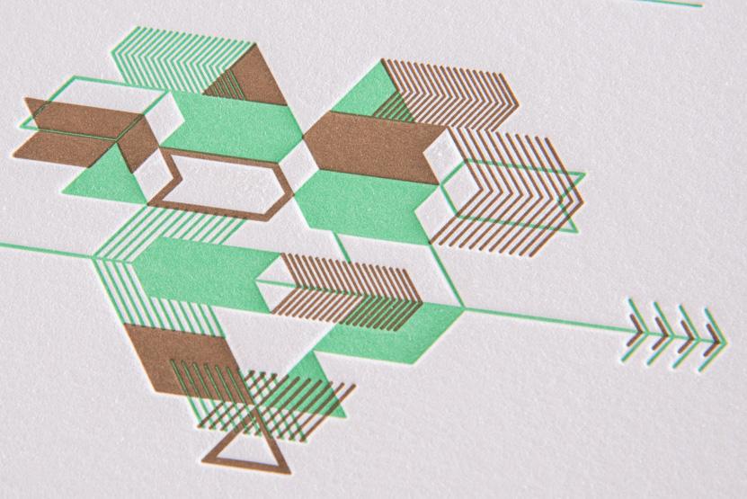 green letterpress wedding invitation