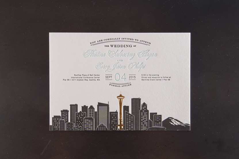 letterpress printing seattle invitations skyline gold foil space needle design invitation printing