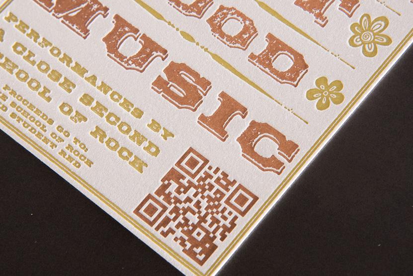 letterpress qr code invitation arts festival design