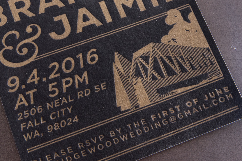 letterpress wedding invitations printing seattle design gold on black paper