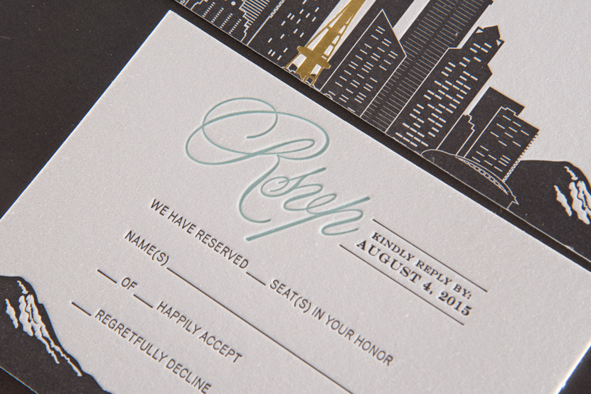 mountain seattle pacific nortwest design invitations skyline formal designers letterpress printing