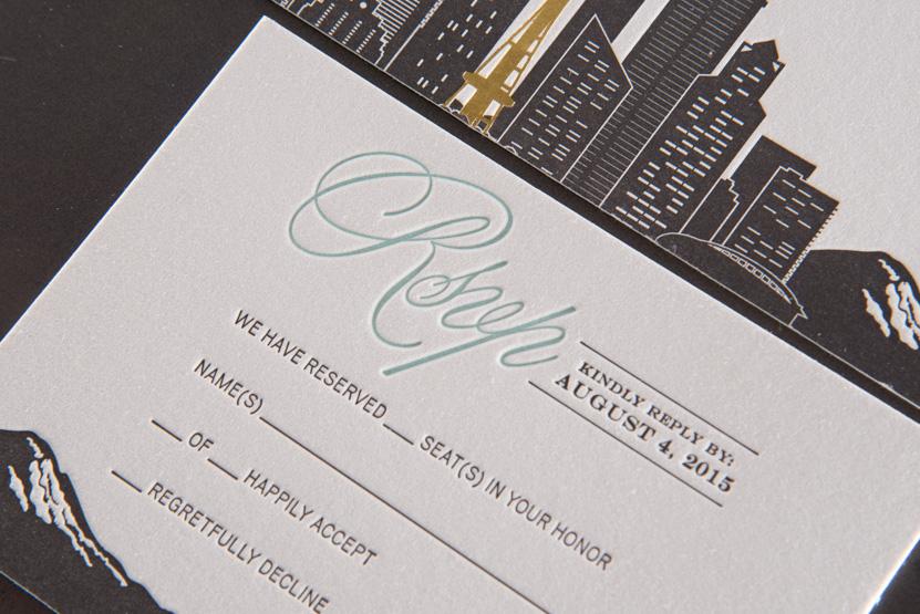 mountain seattle pacific nortwest design invitations skyline formal designers letterpress printing