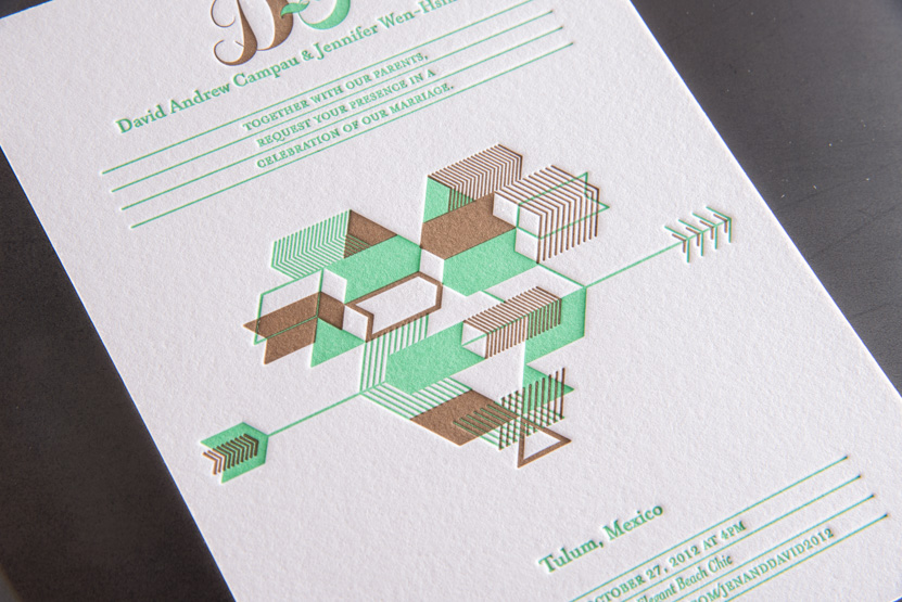native design wedding invitations geometric custom printing