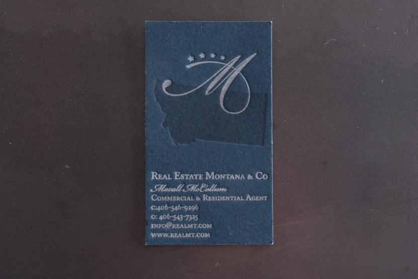 navy business card silver on navy montana real estate cards letterpress blind press
