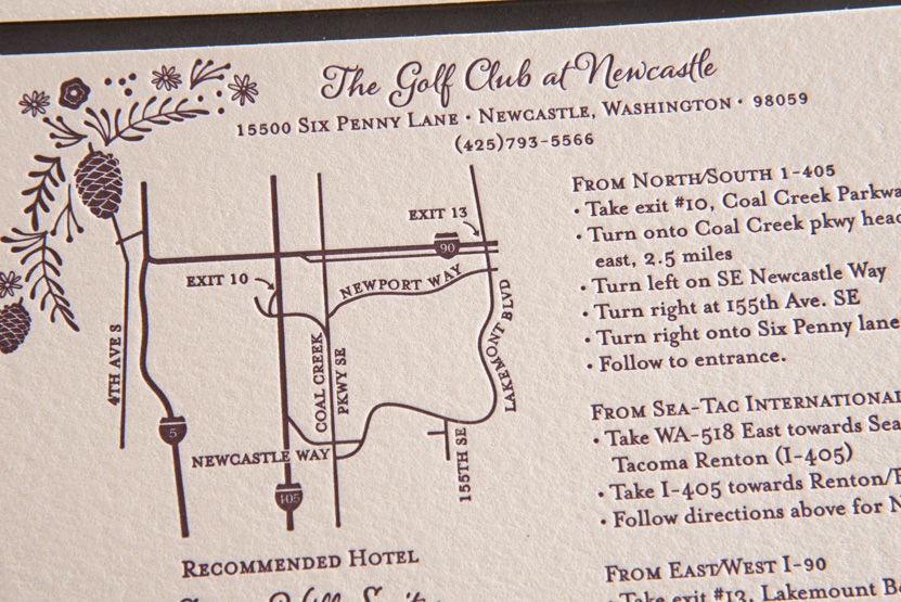 newcastle golf course wedding invitations map club seattle