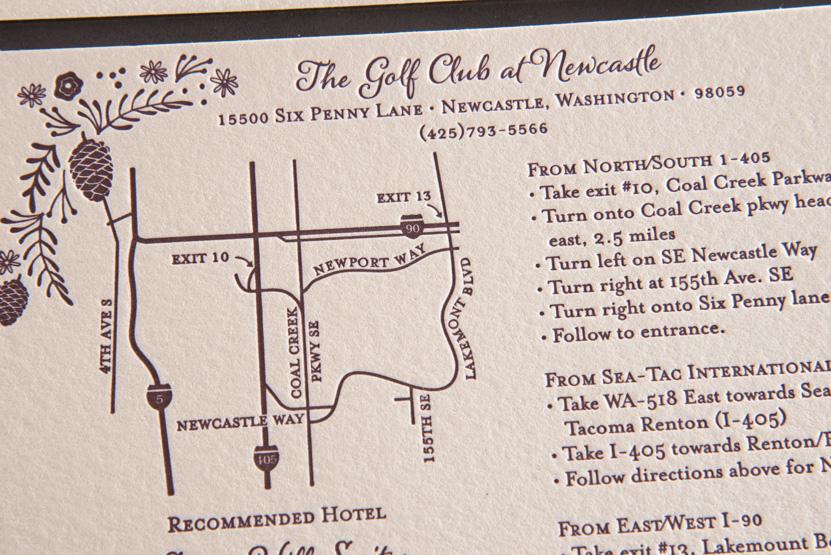 newcastle golf course wedding invitations map club seattle