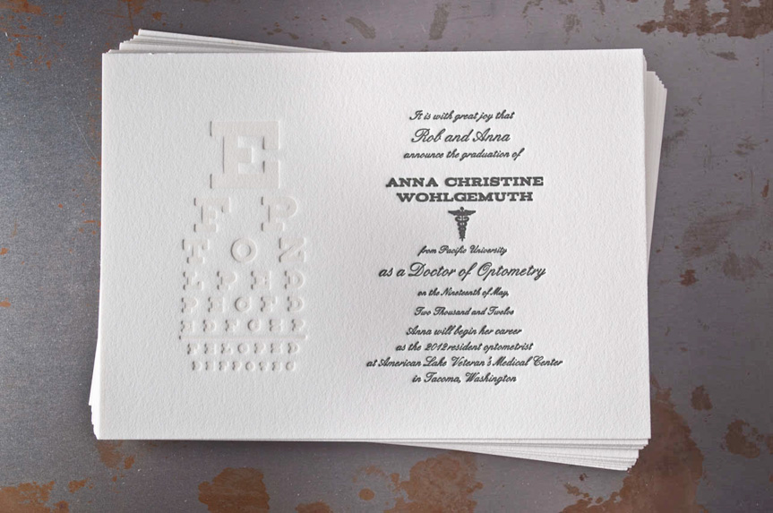 optometry graduation announcement design letterpress seattle