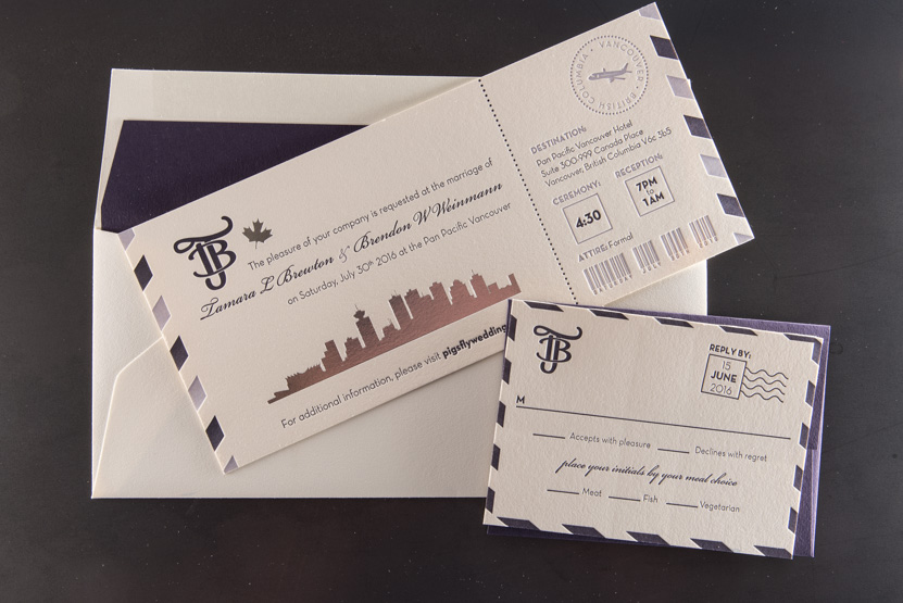 passport boarding pass invitation rsvp design letterpress foil seattle vancouver wedding