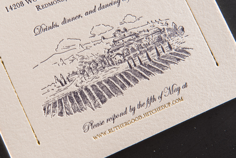 pressed winery wine design invitations foil printing seattle woodinville