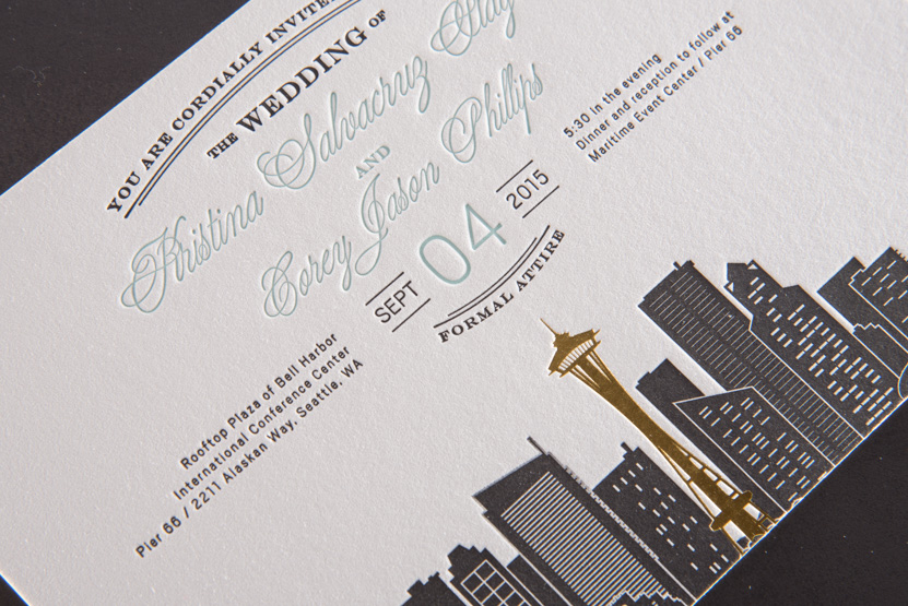 seattle skyline wedding invitations letterpress and foil design printing