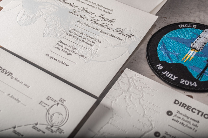 space letterpress wedding invitation