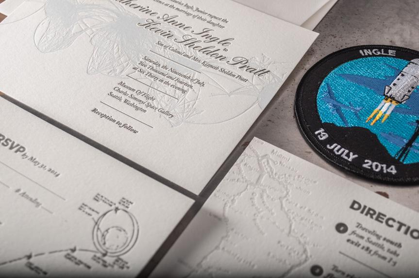 space letterpress wedding invitation