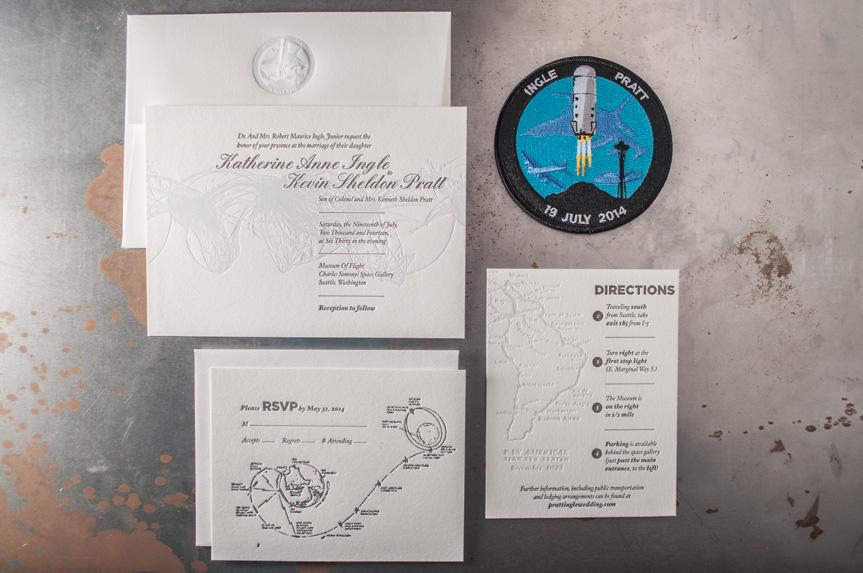 space themed astronomy wedding invitation aviation design letterpress designer seattle