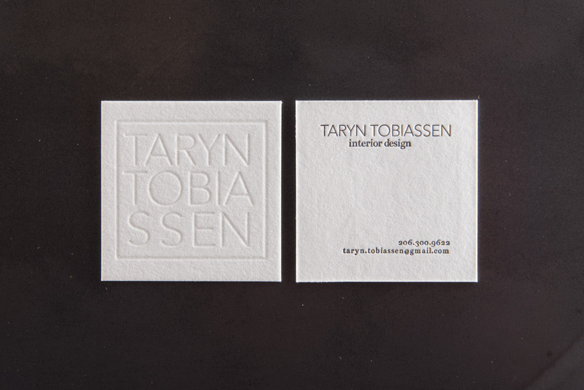 square business card design printing seattle letterpress