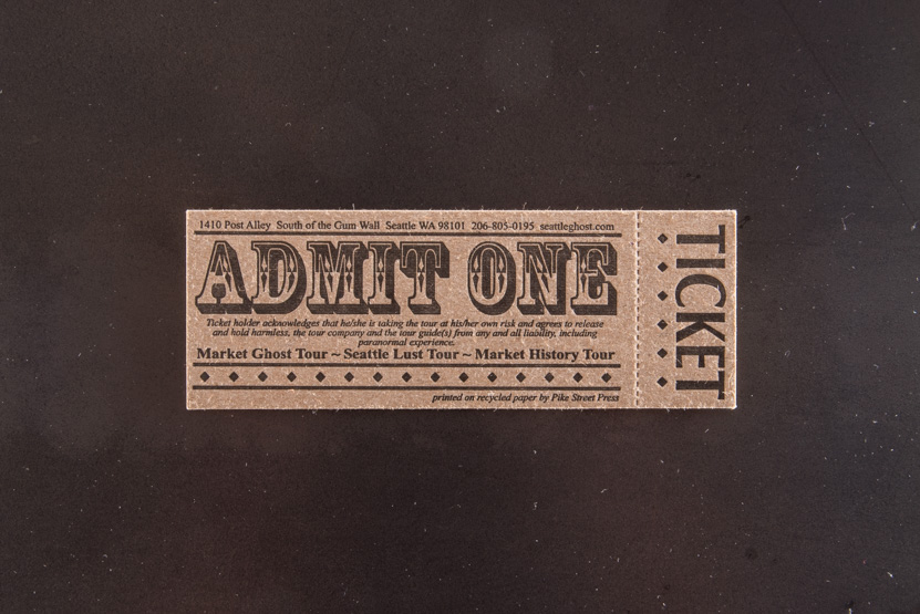 ticket design letterpress printed kraft paper perforation tours custom