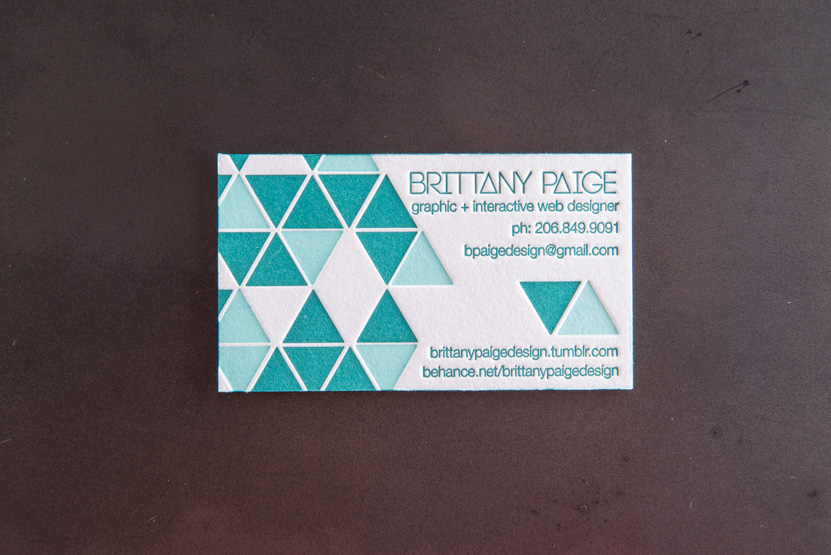 triangle business card design letterpress printing seattle