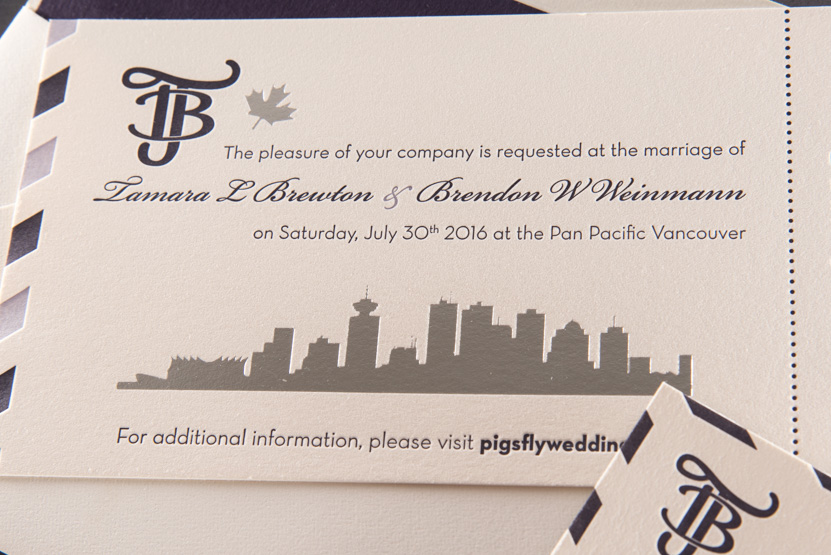 vancouver custom wedding invitation printing design