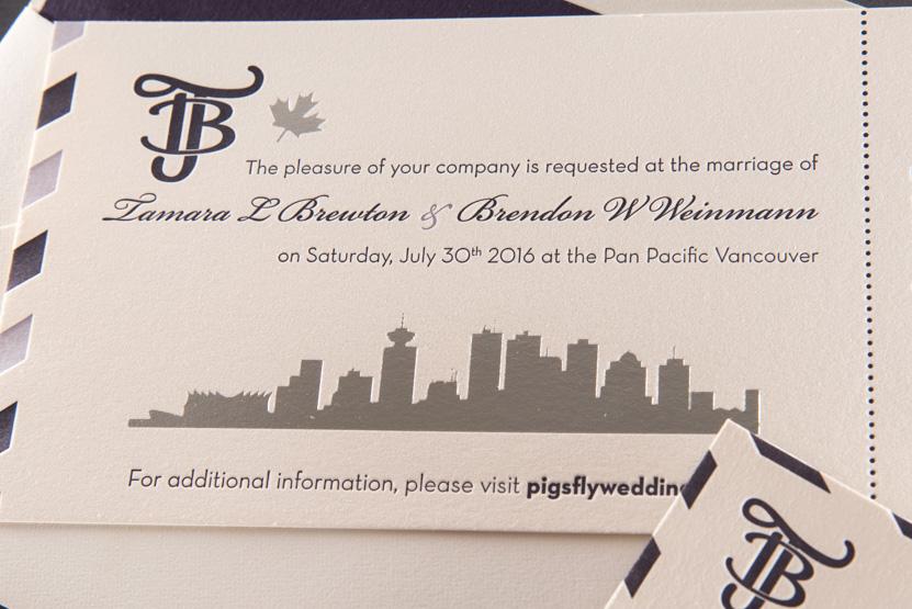 vancouver custom wedding invitation printing design