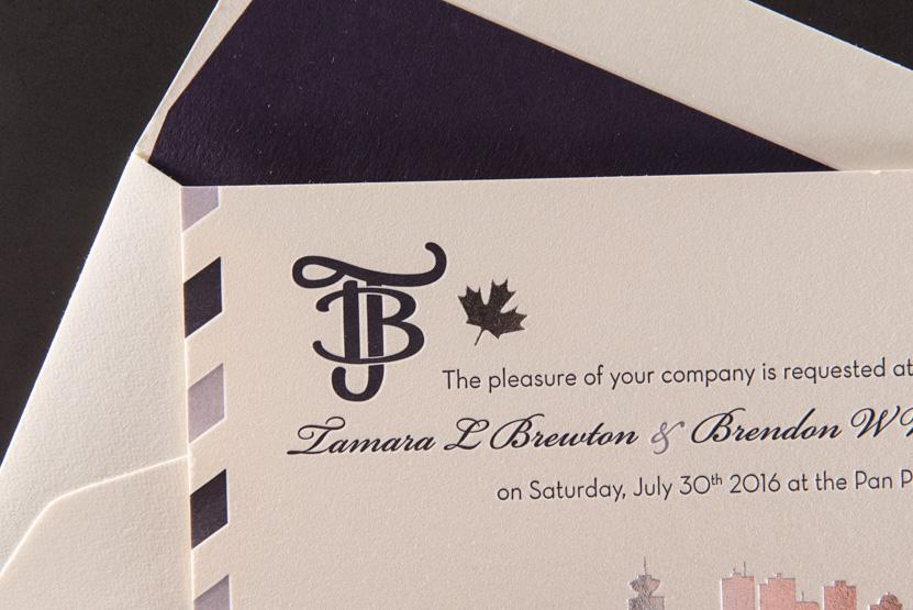 vancouver wedding invitation printing design custom boarding pass